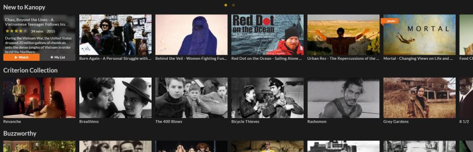 Image of films from Kanopy website.