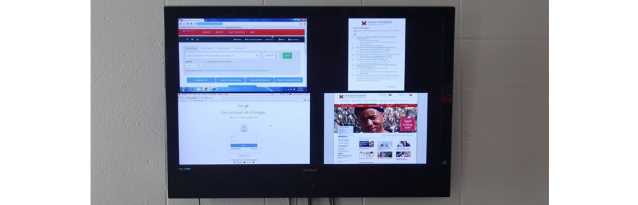 Photo of screens being shared on a wall-mounted television
