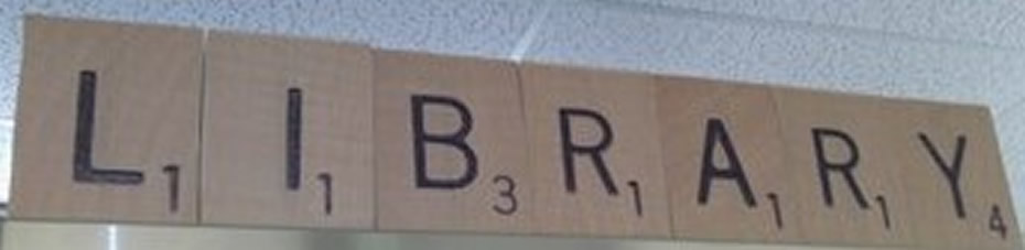 Photo of library sign made from Scrabble letters
