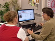Research consultation photo of librarian and student