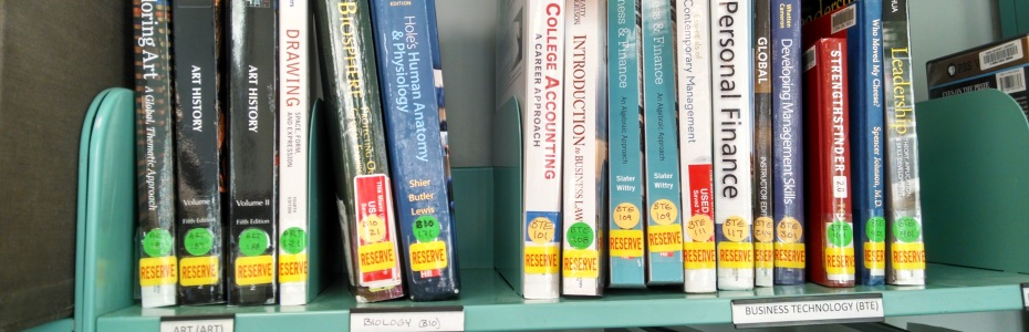 Photo of textbooks on shelf